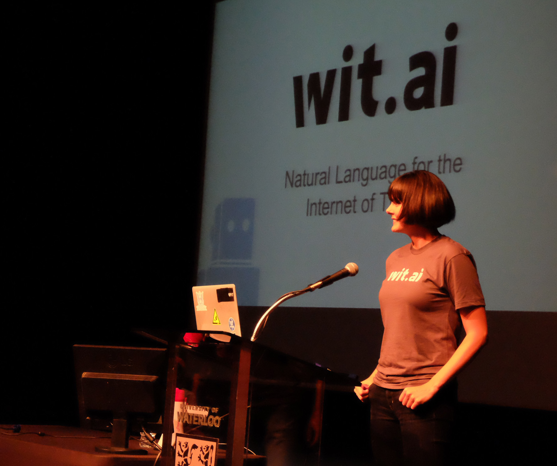 Introducing Wit.ai during the opening ceremonies at the Hack The North Hackathon