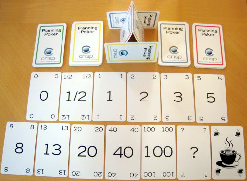 A planning poker deck of cards